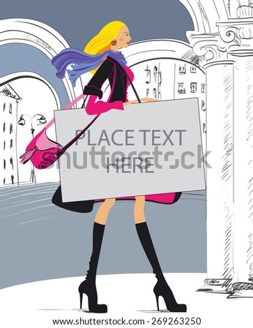 Fashionable young woman in coat walking down the street of the old town with bag - stock vector