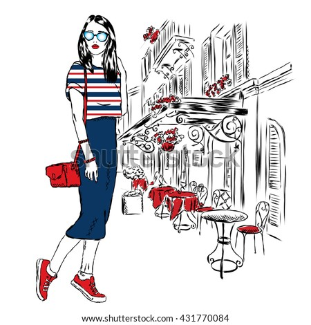 Fashionably dressed girl on the background of a city street. Vector illustration for greeting card, poster, or print on clothes. Fashion & Style. Beautiful girl. - stock vector