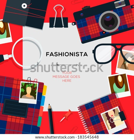 Fashionista template with accessories, vector illustration.  - stock vector