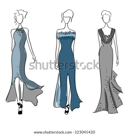 Fasion show models - stock vector