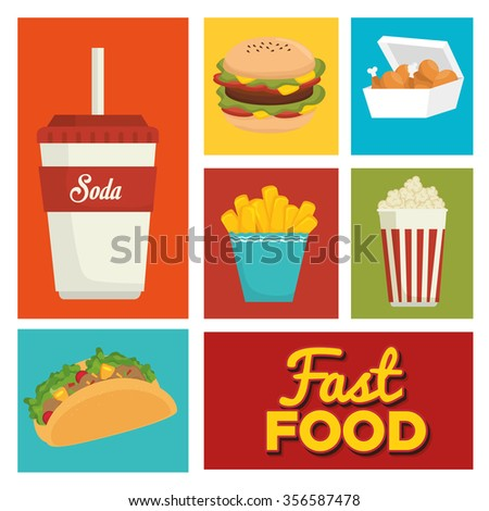Fast and delicious food graphic design, vector illustration
