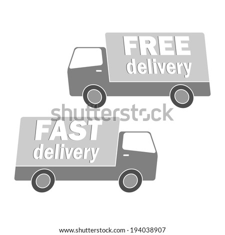 Fast and free delivery. Trucks. Vector