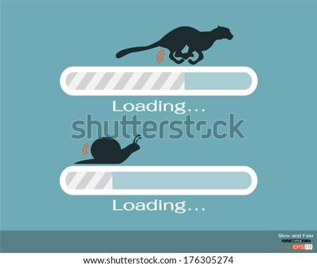 Fast and slow progress loading bar - stock vector