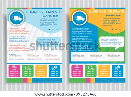 Fast delivery service icon  on vector Brochure Flyer design Layout template, size A4. Easy to use and edit. - stock vector
