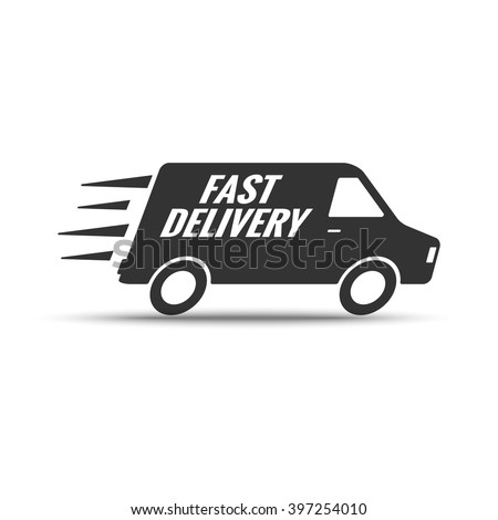 Fast delivery. Shipping truck silhouette. Fast speed transportation symbol. Vector logo of courier service or online store.  Lorry icon with speed lines isolated on white background. - stock vector