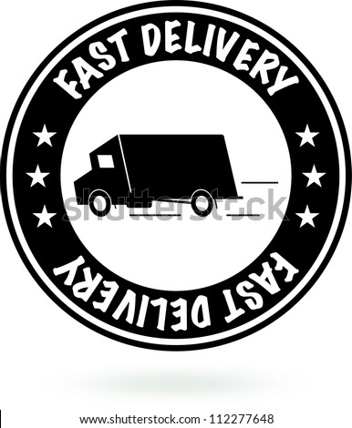 Fast Delivery Sign. Round Black Stamp. Vector - stock vector
