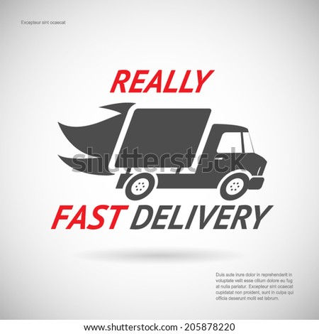 Fast Delivery Symbol Shipping Truck Silhouette Icon Design Template Vector Illustration - stock vector