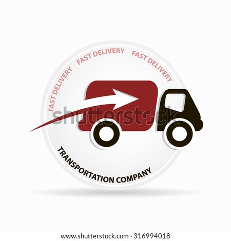Fast delivery truck circle logo for transportation company art - stock vector