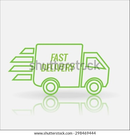 Fast delivery truck thin lines icon  - stock vector