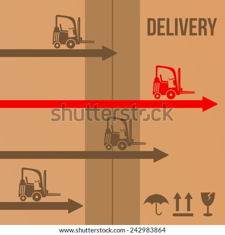Fast delivery vector concept with forklifts and arrows on delivery package with adhesive tape and transportation icons protect from moisture, up, fragile - stock vector