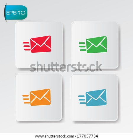 Fast e-mail buttons,vector - stock vector