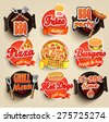 Fast food and BBQ Grill elements, Typographical Design Label or Sticer - burgers, pizza, hot dog, fries. Vector illustration.