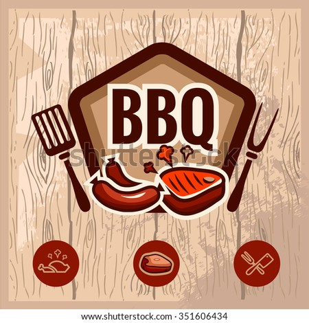 Fast food and BBQ Grill elements, Typographical Design Label or Sticker. Vector illustration. - stock vector