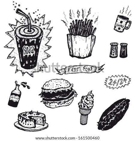 Fast Food And Burger Restaurant Icons/ Illustration of a set of fast food restaurant icons elements, including burger sandwich, hot dog, beverage, french fries, sausage and cakes
