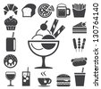 Fast food and dessert icon set.Illustration eps10 - stock vector