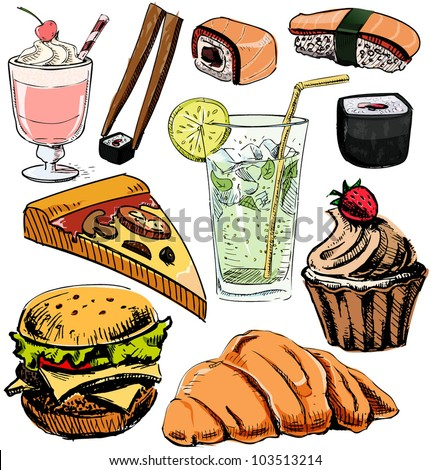 Unhealthy Foods Drawing Fast Food And Drinks Colorful