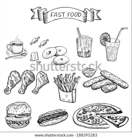 fast food and other food. set of vector sketches