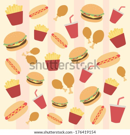 Fast food background pattern vector - stock vector