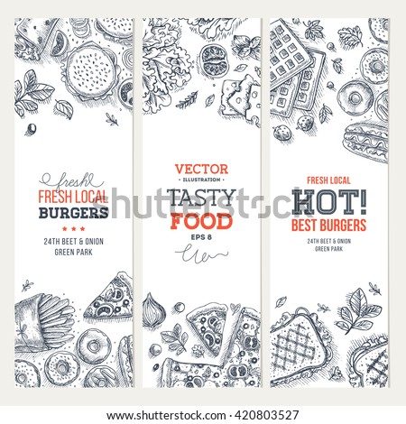 Fast Food Banner Collection Linear Graphic Snack Junk Cafe Vector