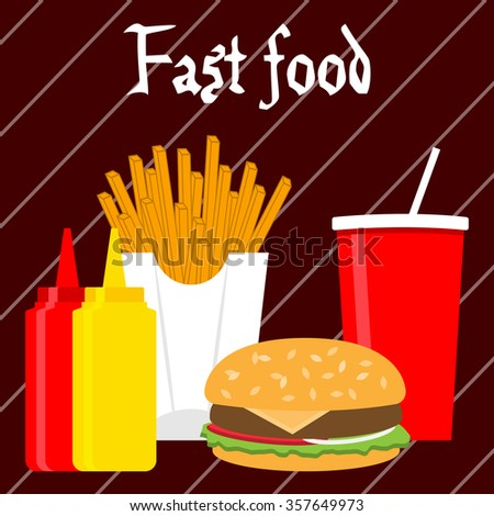 Fast food banner in flat style.Vector Illustration