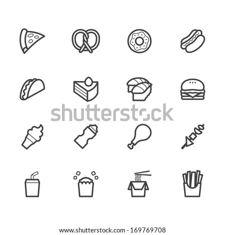 fast food black icon set on white background - stock vector