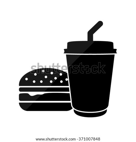 fast food  - black vector icon