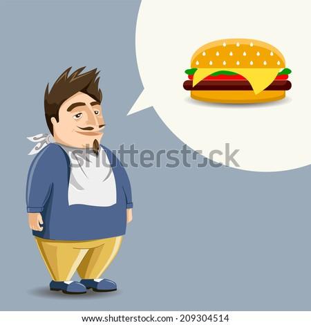 Fast food, burger ( hamburger ), full mouth. Funny guy - stock vector