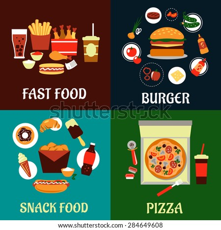Fast food, burger, snack food and pizza flat icons depicting burger with ingredients, takeaway pizza box with soda, boxes of fried chicken with french fries, drinks and hot dogs