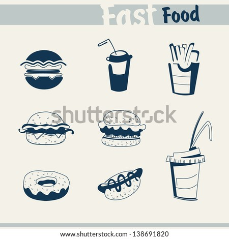 Fast-food burger, soft drink and french fries - stock vector