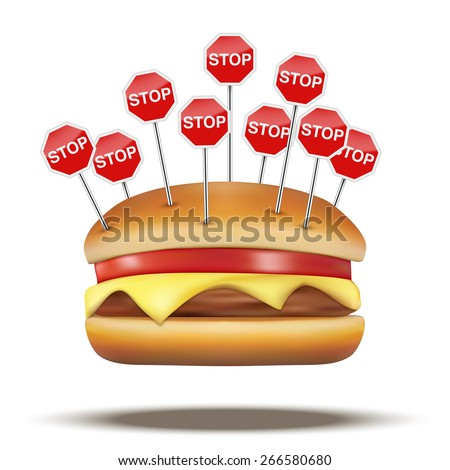 Fast food burger with STOP signs. Vector Illustration isolated on white background. - stock vector