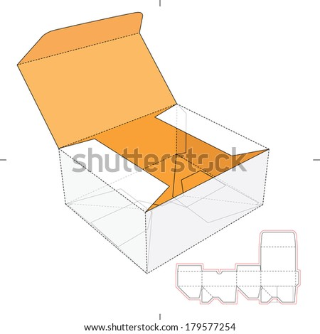 Fast-food Cardboard Box with Die-cut Pattern - stock vector