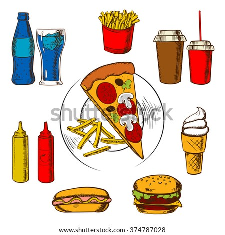 Fast food central plate of pizza and french fries surrounded by a cheeseburger, coffee, soda, french fries,  hot dog, ice cream cone and condiments. Vector illustration - stock vector