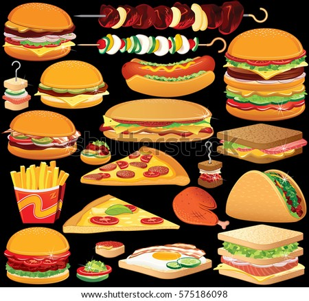 Fast Food Clip Art. Set of Isolated Illustrations of Variety American Burgers, Sandwiches and Pizzas, Kebabs.