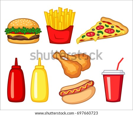 Fast Food Clipart Set Fast Food Stock Vector 697660723