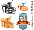 Fast food. Cola, hamburger and fries. - stock vector