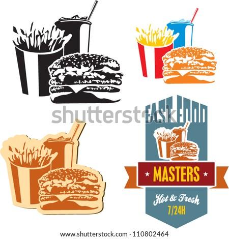 Fast food. Cola, hamburger and fries. - stock vector