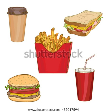 Fast food collection hamburger, sandwich, french fries, cup soda, cup coffee fast food hand drawn vector. Fast food elements