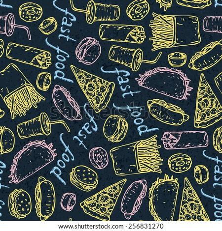 Fast Food color chalk seamless pattern. Vector illustration - stock vector