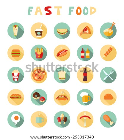 fast food colorful flat design icons set. template elements for web and mobile applications - stock vector