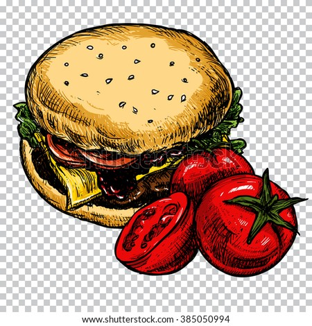 Fast food colorful illustration. Sketch vector illustration. Fast food restaurant, fast food menu. Hamburger and tomatoes. Set of colorful cartoon fast food, isolated. Vector illustration. - stock vector