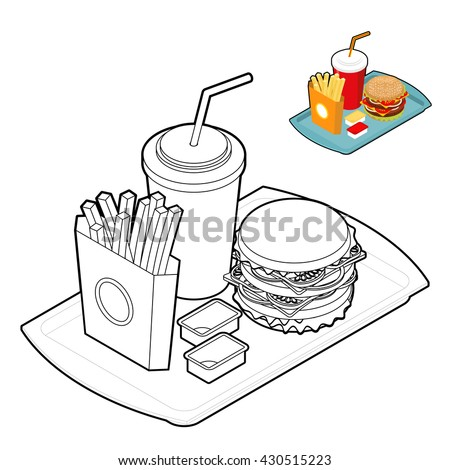 fast food coloring book food in linear style big fresh hamburger delicious frying - Coloring Book Paper Stock
