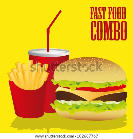 fast food combo with a hamburger, french fries and soda, vector illustration