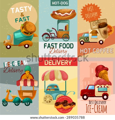 Fast food delivery trucks mini posters set isolated vector illustration - stock vector
