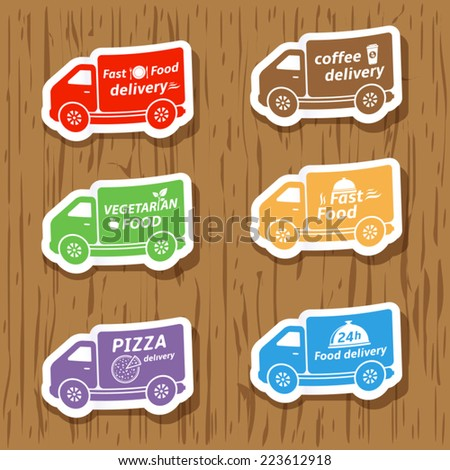 Fast food delivery, vector stickers