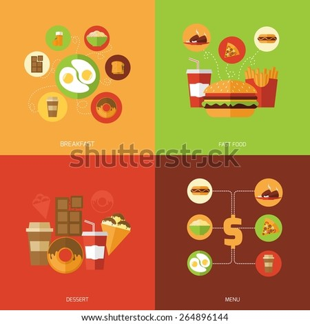 Fast food design concept set with breakfast dessert menu flat icons isolated vector illustration - stock vector