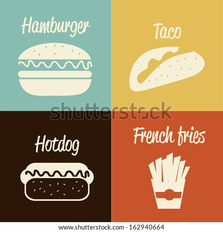 fast food design over colors background vector illustration - stock vector