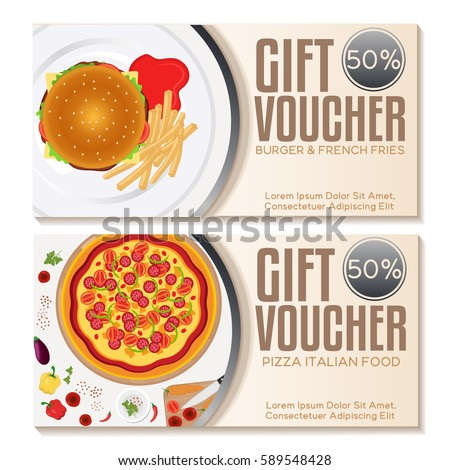 Fast Food Discount Voucher Template. Vector Illustration  Lunch Voucher Template