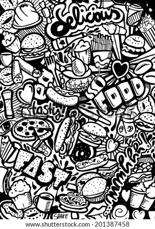 Fast Food Doodle - stock vector