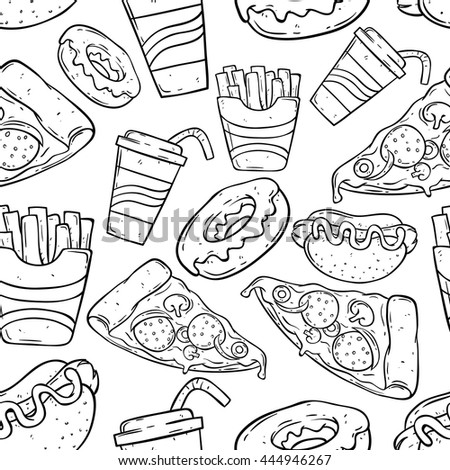 Fast food doodle art in seamless pattern