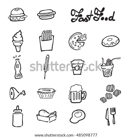 Fast food doodle drawing icons set